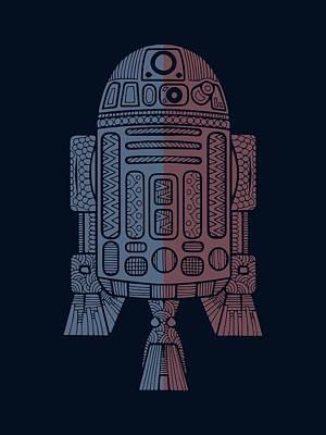 Merchandise Mixed Media - R2d2 - Star Wars Art - Blue, Red by Studio Grafiikka