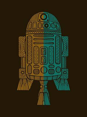 Mixed Media - R2d2 - Star Wars Art - Brown, Blue by Studio Grafiikka