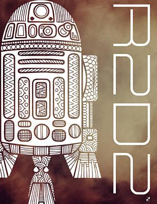 Film Mixed Media - R2d2 - Star Wars Art - Brown by Studio Grafiikka
