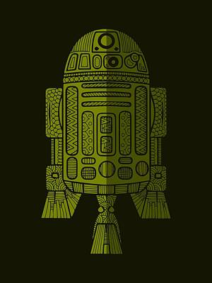 Mixed Media - R2d2 - Star Wars Art - Green 2 by Studio Grafiikka
