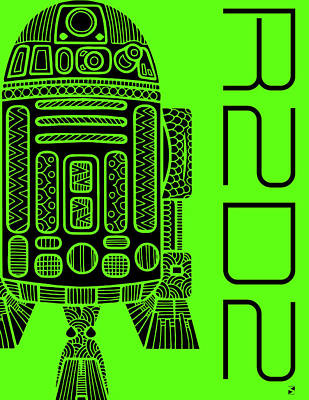 Royalty-Free and Rights-Managed Images - R2D2 - Star Wars Art - Green by Studio Grafiikka