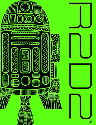 R2d2 - Star Wars Art - Green Art Print