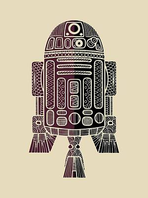 R2d2 Mixed Media - R2d2 - Star Wars Art - Purple by Studio Grafiikka