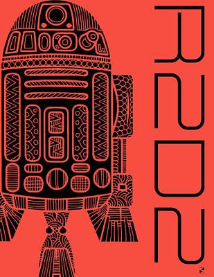R2d2 - Star Wars Art - Red Art Print