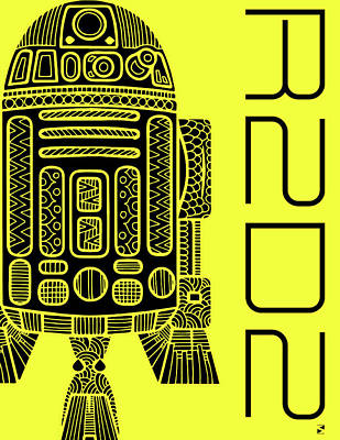 R2d2 - Star Wars Art - Yellow Art Print