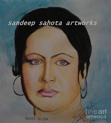 Alfred George Stevens Drawing - Raakhee Gulzar by Sandeep Kumar Sahota