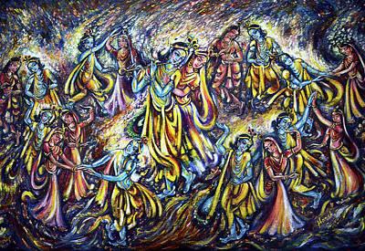 Krishna Painting - Raas by Harsh Malik
