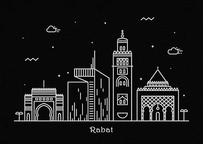 Drawing - Rabat Skyline Travel Poster by Inspirowl Design