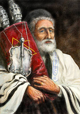 Rabbi Painting - Rabbi With Torah by Edward Farber