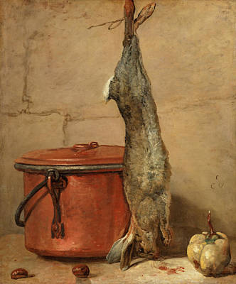 Carcass Painting - Rabbit And Copper Pot by Jean Simeon Chardin
