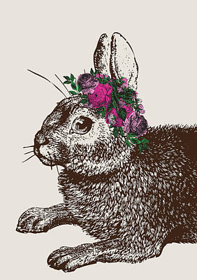 Rabbit And Roses Art Print