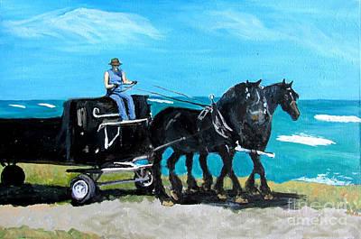 Horse Pulling Wagon Painting - Rabbit Bay Percherons by Ida Knuuttila