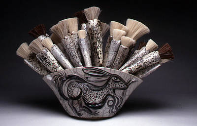 Horse Hair Raku Sculpture - Rabbit Brush Bouquet by Glenn  Grishkoff