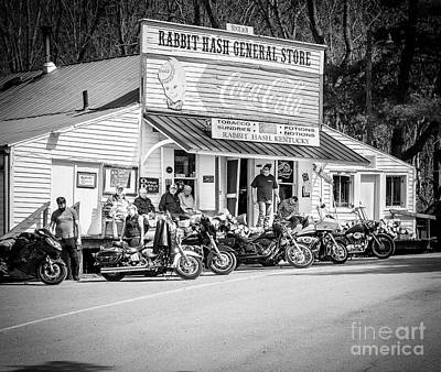 Photograph - Rabbit Hash Store-front View Bikers Bw by Mary Carol Story