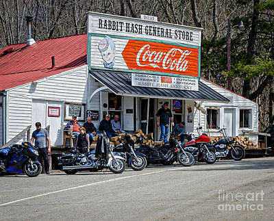 Photograph - Rabbit Hash Store-front View Bikers by Mary Carol Story