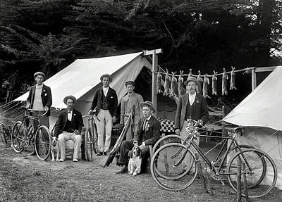 Rabbit Hunting Photograph - Rabbit Hunters Camp 1910 by Daniel Hagerman