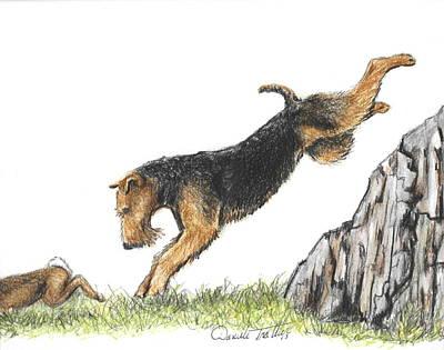 Puppy Drawing - Rabbit Hunting by Daniele Trottier