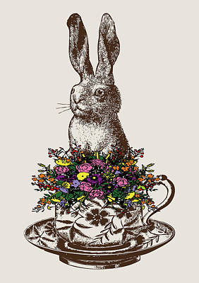 Rabbit In A Teacup Print by Eclectic at HeART