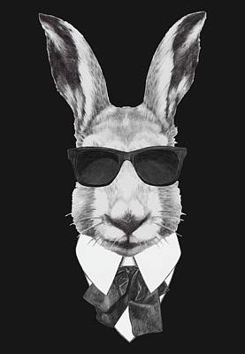 Pet Care Drawing - Rabbit In Black by Marco Sousa
