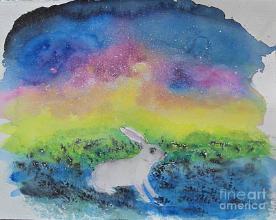 Art Print featuring the painting Rabbit In Galaxy 5 by Doris Blessington