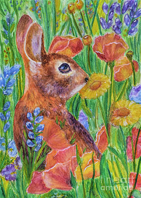 Painting - Rabbit In Meadow by Olga Hamilton