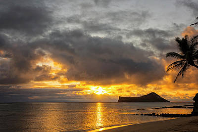 Tropical Photograph - Rabbit Island Sunrise - Oahu Hawaii by Brian Harig