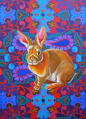 Bright Colours Painting - Rabbit by Jane Tattersfield