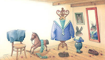 Mirror Drawing - Rabbit Marcus The Great 27 by Kestutis Kasparavicius