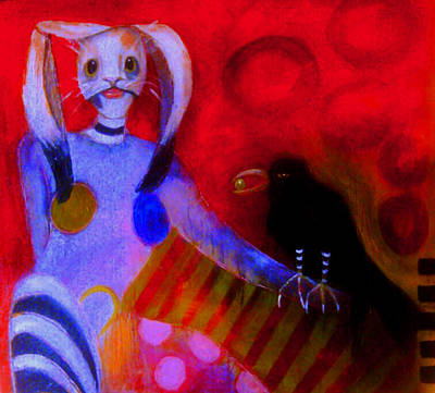 Hargrove Painting - Rabbit Masked Acrobat With Crow Clown  by Susan Hargrove
