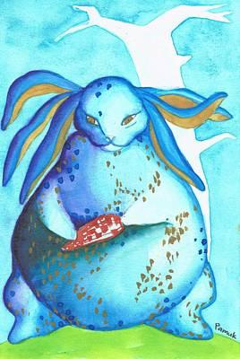 Japa Painting - Rabbit Postcard by Gyunai Pamuk