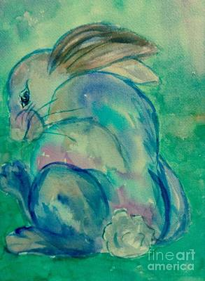 Painting - Rabbit - Tude Blues by Ellen Levinson