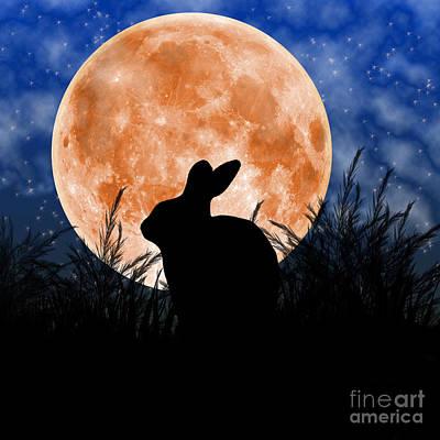 Rabbit Under The Harvest Moon Art Print by Elizabeth Alexander