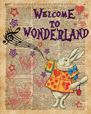Rabbit Welcome To .. Alice In Wonderland Art Print by Jacob Kuch