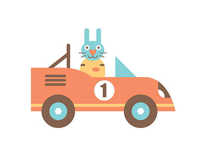 Rabbit Racer Art Print by Mitch Frey