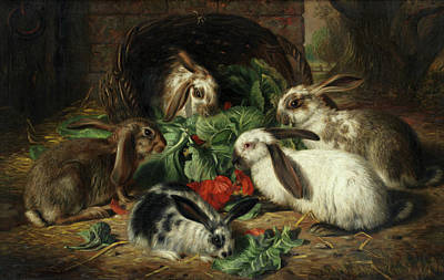 Cabbage Painting - Rabbits by Alfred Richardson Barber