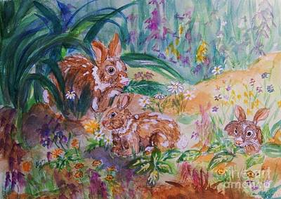 Painting - Rabbits In The Garden by Ellen Levinson