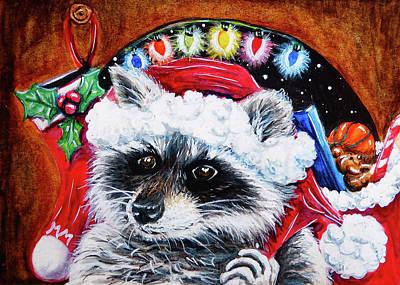 Painting - Racccoon Santa Claus by Monique Morin Matson
