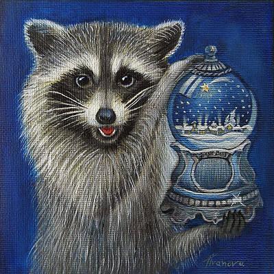 Raccoon - Christmas Star Art Print by Temenuga Ivanova