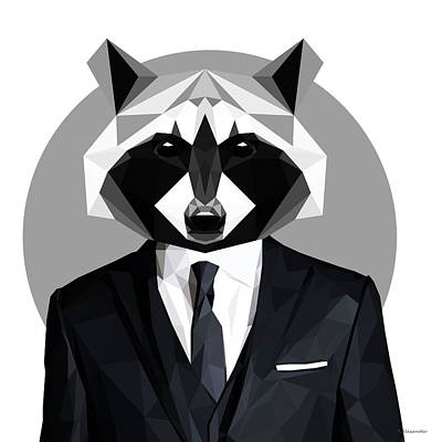Raccoon Digital Art - Raccoon by Gallini Design