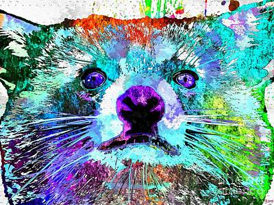 Raccoon Mixed Media - Raccoon Grunge by Daniel Janda
