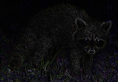 Raccoon In Drakness Original by Edgun Art