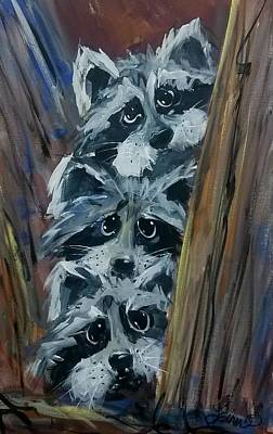 Painting - Raccoon Triplets by Terri Einer