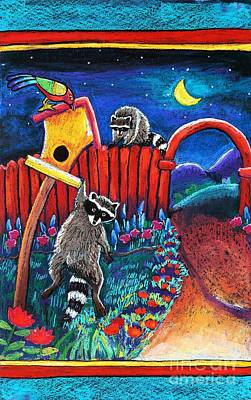 Raccoon Trouble Art Print by Harriet Peck Taylor