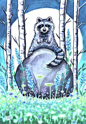 Painting - Raccoon Under The Moonlight by Elizabeth Robinette Tyndall