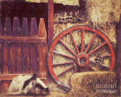 Digital Art - Raccoon Wagon Wheel by Tim Wemple