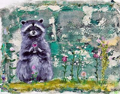 Wall Art - Painting - Raccoon Wine Time by Carol Iyer