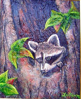Landscape Painting - Raccoon's Sleepy Hollow by Lee Nixon