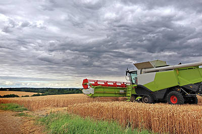 Cornfield Photograph - Race Against Time - Harvesting Before The Storm by Gill Billington