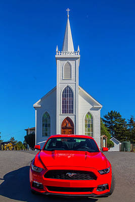Hitchcock Photograph - Race Car Red Mustang by Garry Gay