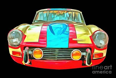 Pop Art Royalty-Free and Rights-Managed Images - Race Car T-shirt by Edward Fielding